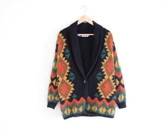 ANGORA NORTHWEST CARDIGAN    size womens medium    90s    sweater    rabbit hair    patterned    southwest    pacific    soft    vintage!