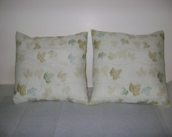 Repurposed Kimono Cream Color Leaf Pillows Set of 2