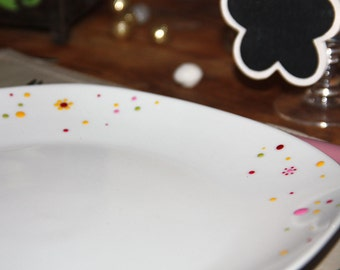 Plate porcelain colorful polka dot