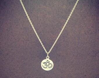 Silver Om Ohm Disc Pendant Necklace - Yoga - Meditation