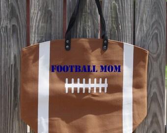 Football Canvas Tote Bag - Custom Embroidered