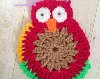 Crochet Owl Applique nursery kids bedroom decoration