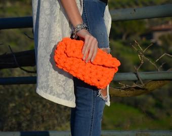 Crochet-Crochet made clutch handbag