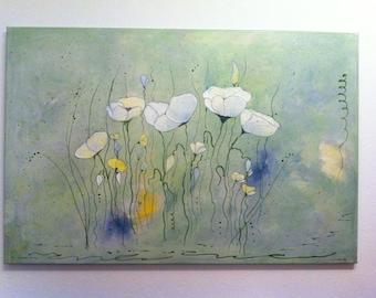 Acrylic painting white poppy 60cmx90cm abstract