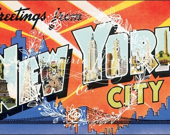 "Greetings from ""NEW YORK CITY"" Vintage Souvenir Postcard Image ~ Instant Download"