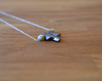 Rock and glitter bead necklace with silver chain