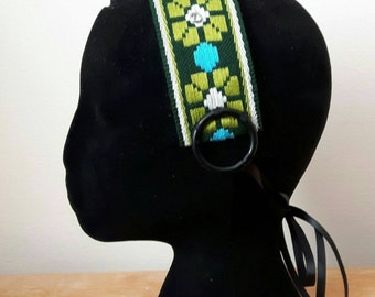 Dark forest green headdress base, use as it is or adorn it yourself, headband for ATS and tribal fusion bellydance - free shipping