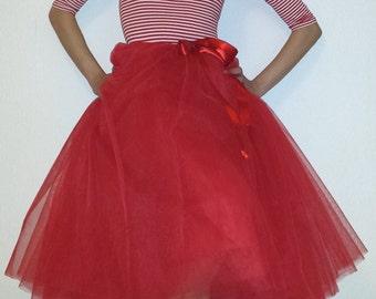 Tulle skirt petticoat 70 cm Red