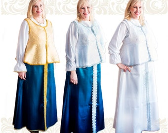 Russian traditional folk dress, Russian costume, Festive clothes, Sarafan with blouse from brocade, chiffon