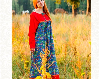 Dress of cotton for woman Olyana, Ethnic style, Traditional Russian dress, Slavic folklore, Russian dress, Russian costume, Russian Party