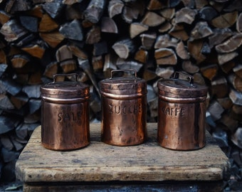 Salt sugar coffee containers tinned copper jars handmade