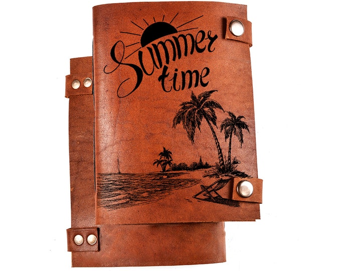 Summer time diary - summer holidays jounal - Seaside notebook - summer sketchbook - leather diary - travel journal