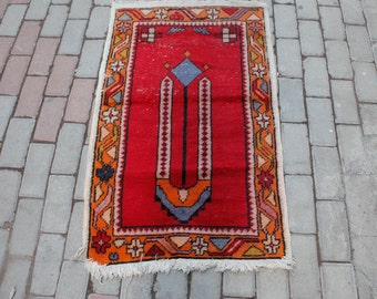 Vintage Small Rug, Anatolian Prayer Rugs