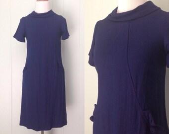 1960s Betty Hartford Short Sleeve Day Dress | 60s Navy Blue Nautical Style Shift Dress | Vintage Retro Collared Dark Blue Wiggle Dress