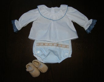 Set shirt, cubrepanal and baby Mary Janes baby girl