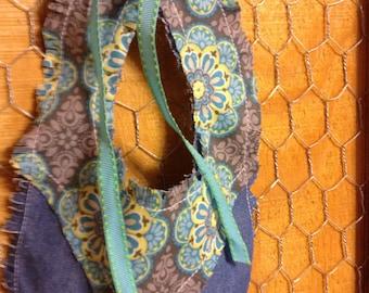 Denim and Aqua floral pattern bib.  FREE SHIPPING