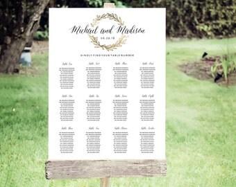 Wedding Seating Chart Template | Editable PDF, Printable Seating Plan Poster, Seating Board | Gold Wreath| ED 5156