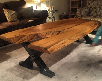 Custom built live edge natural wood coffee table