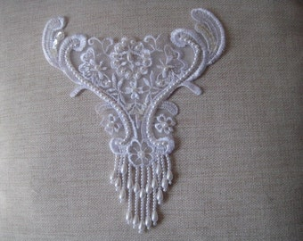 Beaded Applique in organza for jewellery, altered couture, costume design, bridal