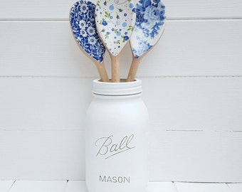 Large Ball Mason Jar with 3 Blue and White Decorative Wooden Spoons - Kitchen Decor