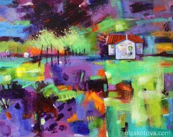 Original painting,  Acrylic art, abstract landscape painting, wall art, wall decor, Art