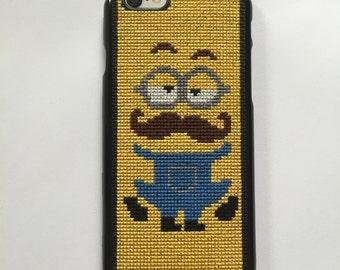 Cross stitch case for iPhone 6. Minion