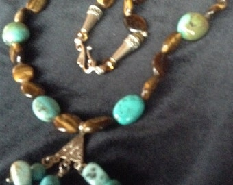 Striking Tiger Eye And Turquoise Necklace
