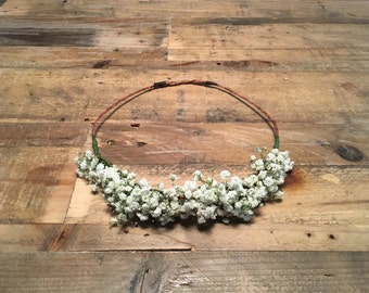 Fresh Baby's Breath Flower Crown