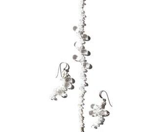 Morning Dew, Jewellery Set, Quartz Earrings, Quartz Bracelet, Quartz, Swarovski Crystals, Asymmetry Earrings, Sterling Silver Jewellery