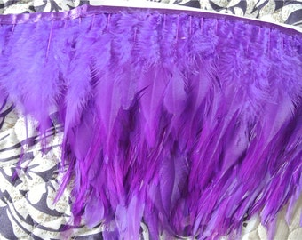 hackle feather fringe trim 10 yards of purple color for sewing desgin