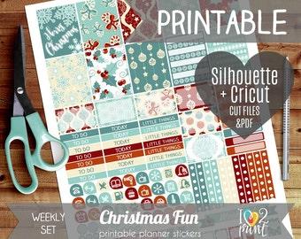 Christmas Fun Weekly Printable Planner Stickers, Erin Condren Planner Stickers, Weekly Planner Stickers, Christmas Stickers  - Cut files