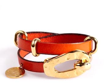 ART18 Orange and Gold Triple Wrap Leather Bracelet
