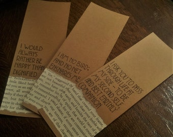 Handmade Bookmark - Jane Eyre Quotes - Charlotte Bronte Bookmark