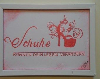 """Image slogan for women: shoes can change your life """"hand painted"""