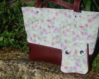 Pouch floral leather handmade and his coin purses with