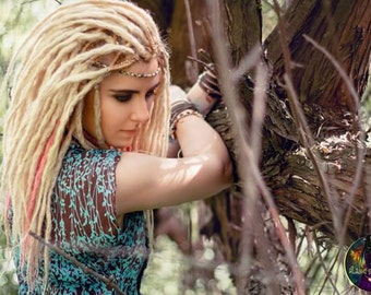 Pink and blond crochet synthetic dreads double ended DE dreads
