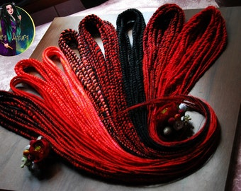 "Set of synthetic double ended senegalese twists dreads ""Blood"" DE dreads Red Black dreads hair extensions"