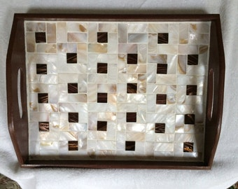 Handmade Mother of Pearl and Glass Tiles Decorative and Serving Tray