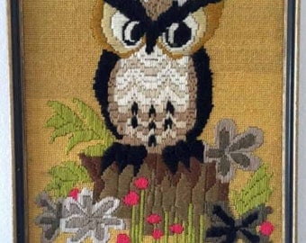 """VINTAGE Finished Embroidery 1973 Avon Owl Moonlight 14.5"""" x 18.5"""" in Frame, Harvest"""
