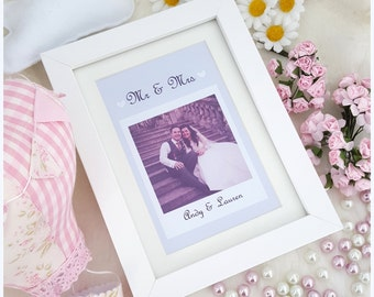 Personalised POLAROID Photo Frame*Mr and Mrs*Wedding*Best Friend*Sister*Keepsake*Gift*Birthday