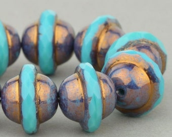 Czech Glass Beads, Saturn Beads, Turquoise Opaque with Purple Bronze, 10x12mm, 5 or 10 Beads