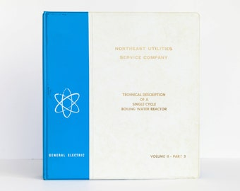 General Electric GE 3 Three Ring Binder Atomic Nuclear Reactor 1960s 60s Kitsch Mid Century Historical Funky Blue Vintage