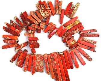 "13-70mm orange variscite stick beads 17"" strand 36575"