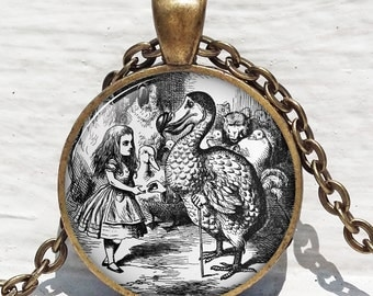 Alice in Wonderland with Dodo Bird,Vintage Children's Jewelry,Dodo Bird,John Tenniel 1942