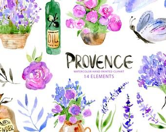 Watercolor PNG clipart Provence France: violet lavender, flowers, oil, bouquet, purple Aquarelle Digital Clip Art Free Commercial Use