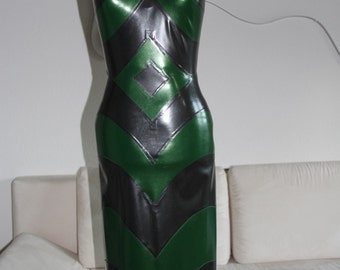 "Unique 3D Latex Dress ""Green Jungle"""