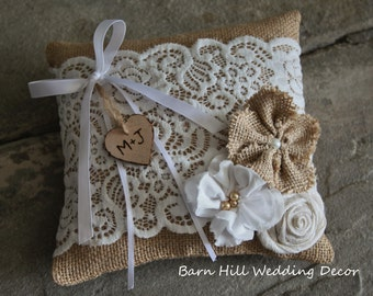 Ring Bearer Pillow, Wedding Ring Pillow, White Lace, Burlap, Rustic Wedding