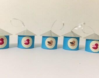 10 blue cute decorative little houses