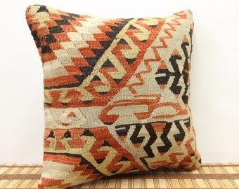 Anatolian kilim pillow cover 16x16 inches Turkish kilim pillow cover Room Decor Throw pillow Ethnic pillow Accent Pillows SKK-1120