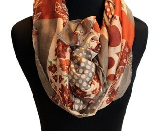 Maroon, olive, green infinity scarf